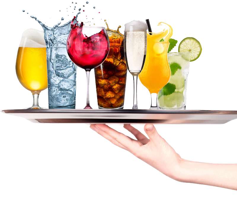 serving tray with drinks
